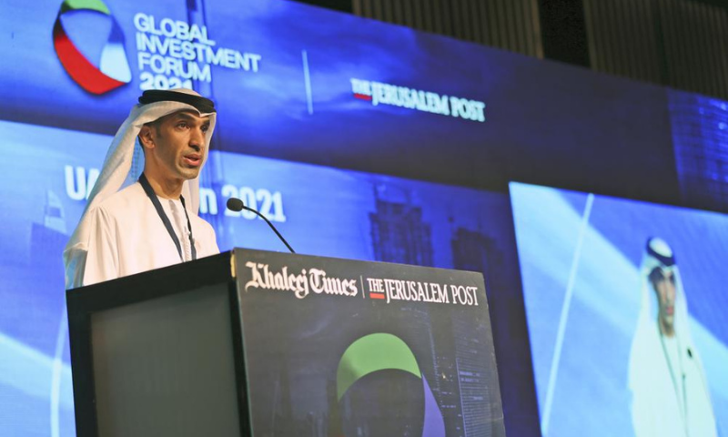 Minister of State for Foreign Trade at UAE Economy Ministry Dr Thani bin Ahmed Al Zeyoudi talks during the Global Investment Forum in Dubai, United Arab Emirates on Wednesday. — AP