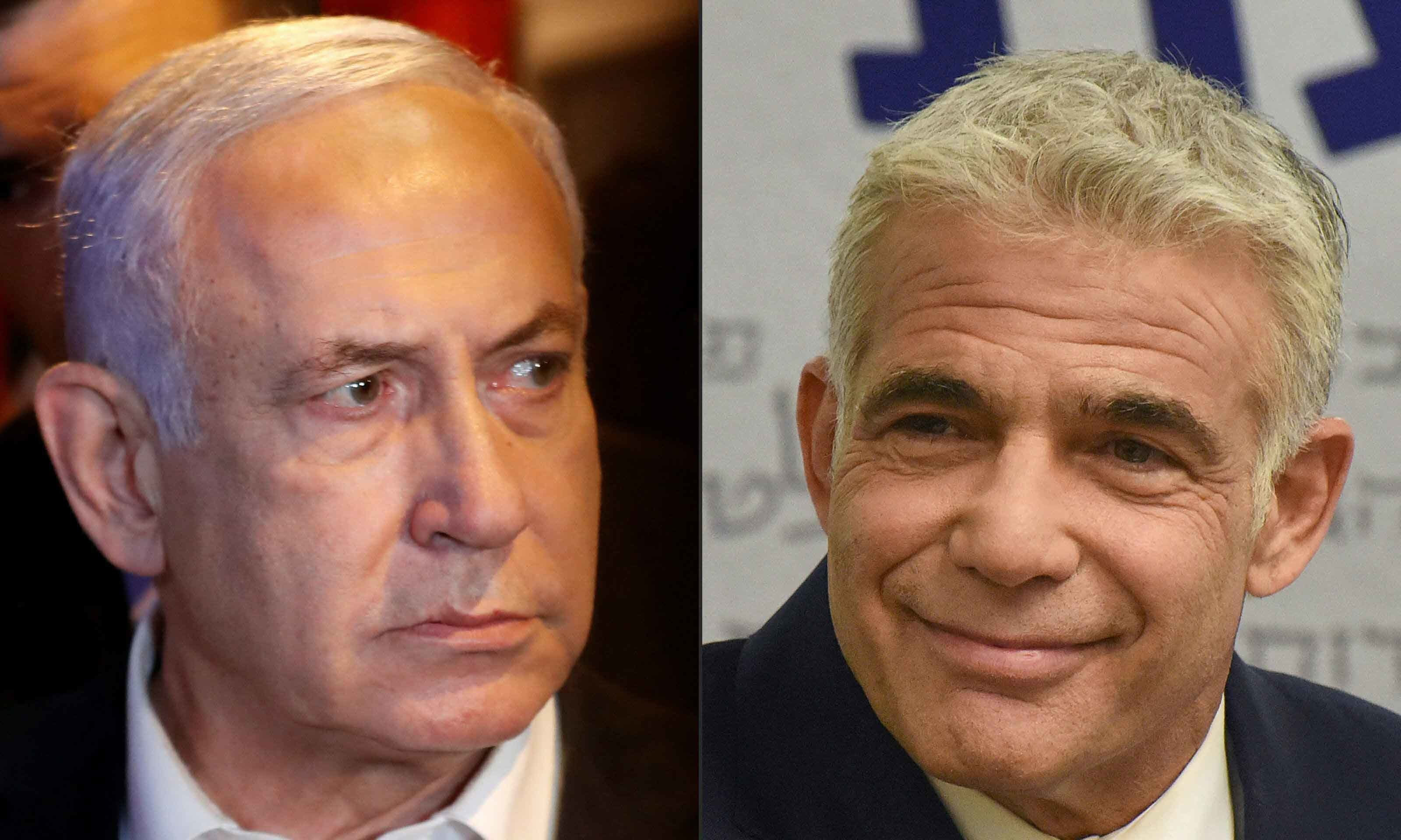 This combination of pictures shows Israeli Prime Minister Benjamin Netanyahu (left) and Israel's centrist opposition leader Yair Lapid. — AFP