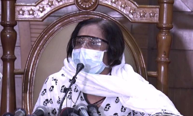 Sindh Health Minister Dr Azra Pechuho addresses a press conference in Karachi. — DawnNewsTV