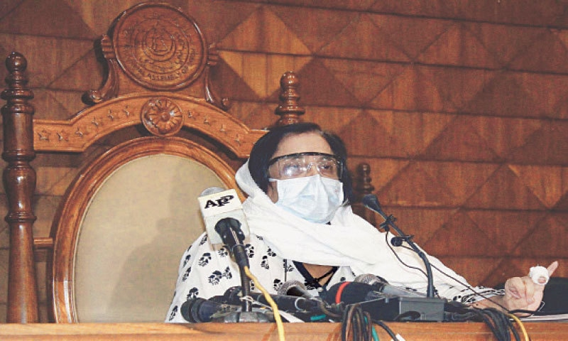 The health minister addresses the media in the Sindh Assembly building on Thursday.—PPI