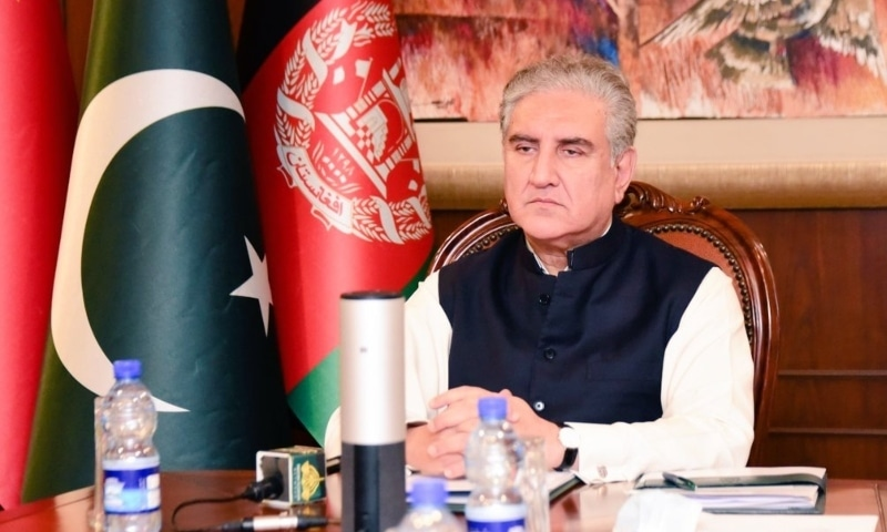 Foreign Minister Shah Mahmood Qureshi at the 4th Session of China-Afghanistan-Pakistan foreign ministers' dialogue. — Photo courtesy Twitter