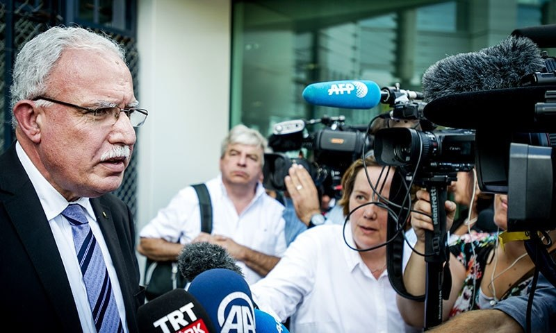 This file photo shows Riyad al-Maliki, the foreign minister of Palestine, speaking to the media.  — AFP/File