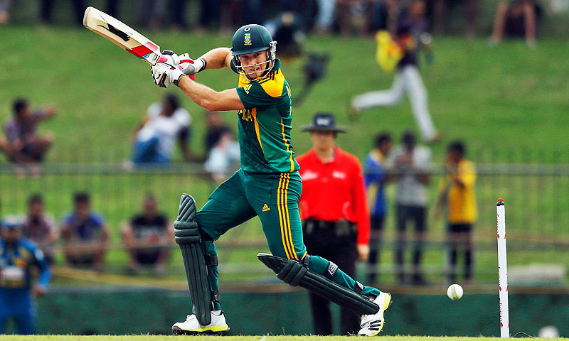 South Africa's David Miller plays a shot during the third One Day International (ODI) cricket match against Sri Lanka in Pallekele on July 26, 2013. — AP