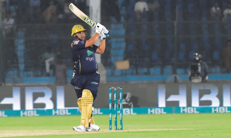 Azam Khan of Quetta Gladiators plays a lofted shot during their PSL match against Islamabad United. — White Star/File