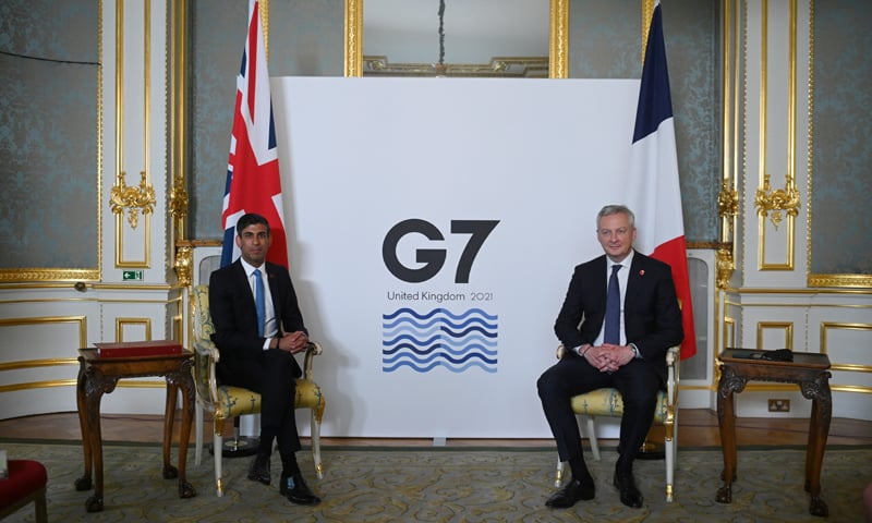 Britain's Chancellor of the Exchequer Rishi Sunak poses with France's Economy and Finance Minister Bruno Le Maire at a meeting of finance ministers from across the G7 nations ahead of the G7 leaders' summit. — Reuters