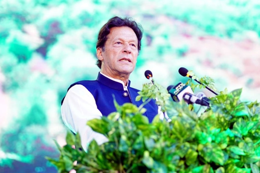 Prime Minister Imran Khan addresses a ceremony in Islamabad on World Environment Day. — Photo courtesy Radio Pakistan