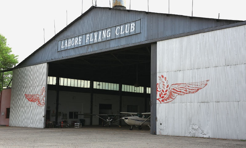 'Lahore Flying Club since 1930', lettering on the main hangar