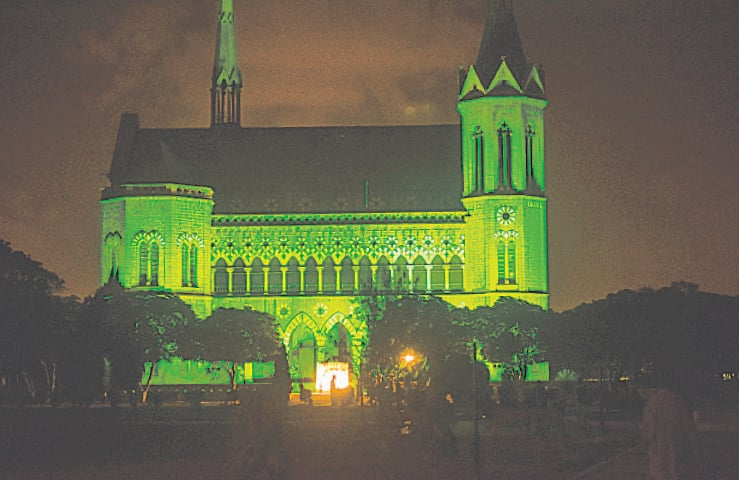 KARACHI: Frere Hall is bathed in green as part of programmes marking the World Environment Day on Saturday.—Fahim Siddiqi / White Star