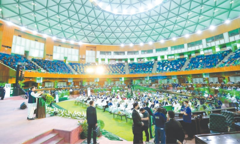 ISLAMABAD: Prime Minister Imran Khan addresses the Environment Day ceremony on Saturday.—White Star