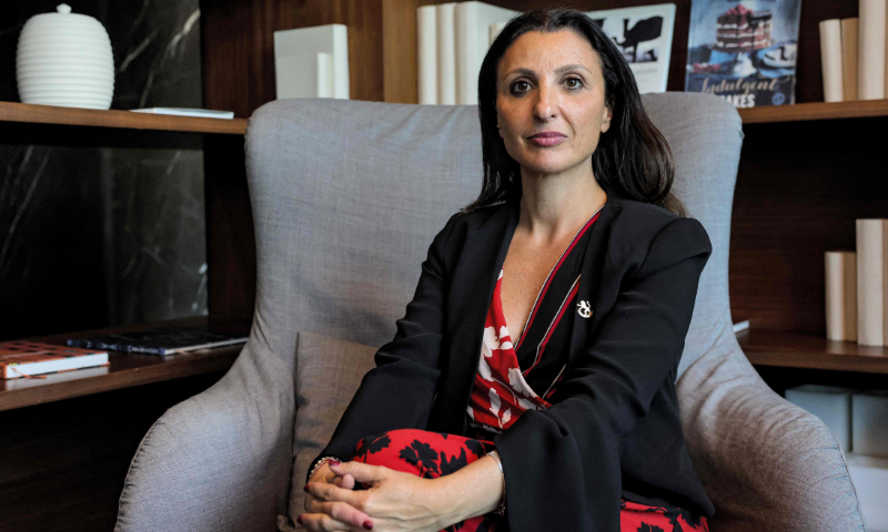 Fleur Hassan-Nahoum, co-founder of the UAE-Israel Business Council and deputy mayor of Jerusalem, poses for a photo during an interview in Dubai. — AFP