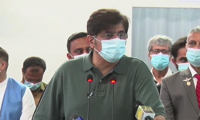 Sindh  Chief Minister Murad Ali Shah speaks to the media in Karachi on Sunday. — DawnNewsTV