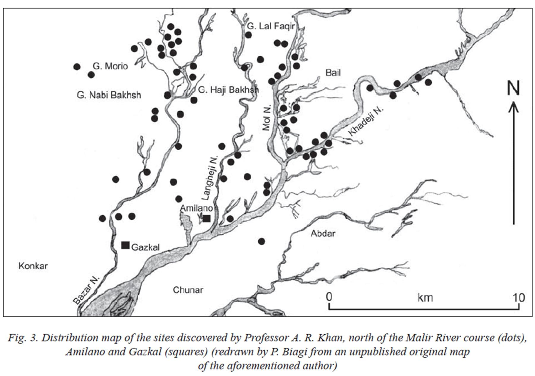 ڈاکٹر خان کو ملیر کی برساتی گزرگاہوں کے کناروں پر درمیانی سنگی زمانے کی بستیوں کے نشان ملے تھے