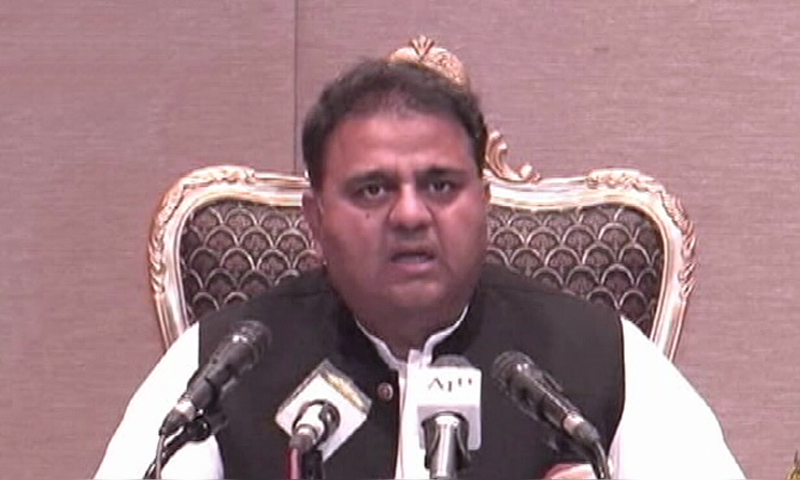 Federal Minister for Information Fawad Chaudhry briefs the media after Federal Cabinet meeting on Tuesday. —Dawn News TV