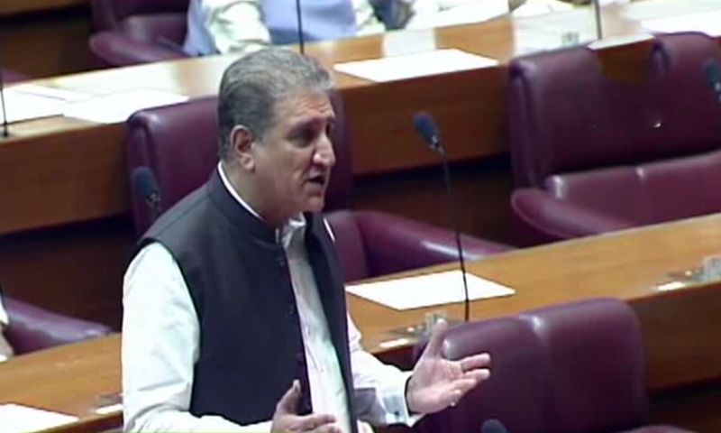 Foreign Minister Shah Mahmood Qureshi speaks in the National Assembly on Tuesday. — DawnNewsTV