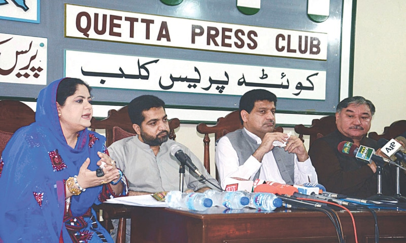 QUETTA: Adviser to Balochistan Chief Minister on Information Bushra Rind, accompanied by Finance Minister Mir Zahoor Ahmed Buledi, Home Minister Ziaullah Langove, Minister for Revenue Mir Saleem Ahmed Khosa, addresses a press conference at Quetta Press Club on Tuesday.—PPI