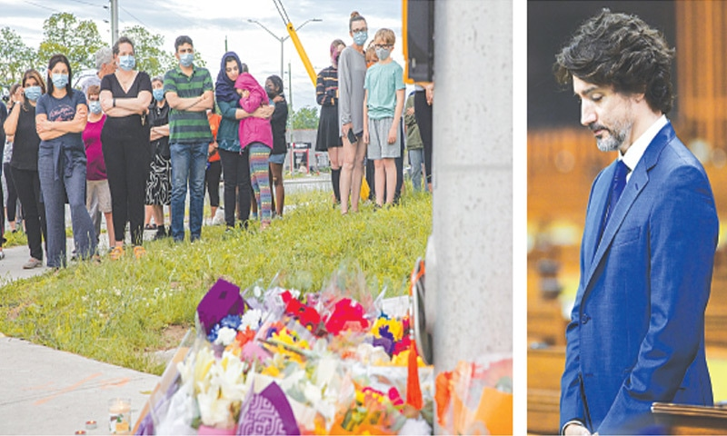 PEOPLE attend a memorial at the place in London, Ontario, where members of a Canadian family of Pakistan origin were run over by a truck, and (right) Canadian Prime Minister Justin Trudeau observes a moment of silence for the victims in the House of Commons on the Parliament Hill in Ottawa on Tuesday.—AP