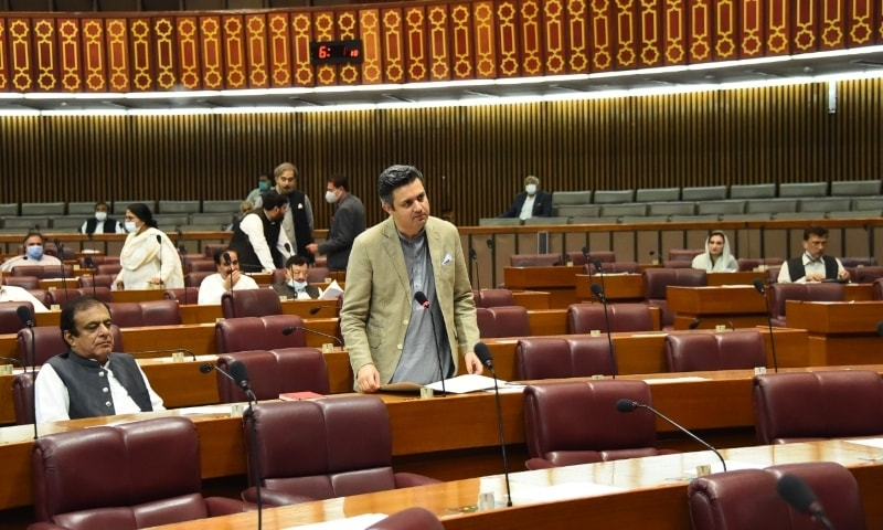 This file photo shows Minister for Energy Hammad Azhar during the National Assembly session on Tuesday. — Photo courtesy NA Twitter