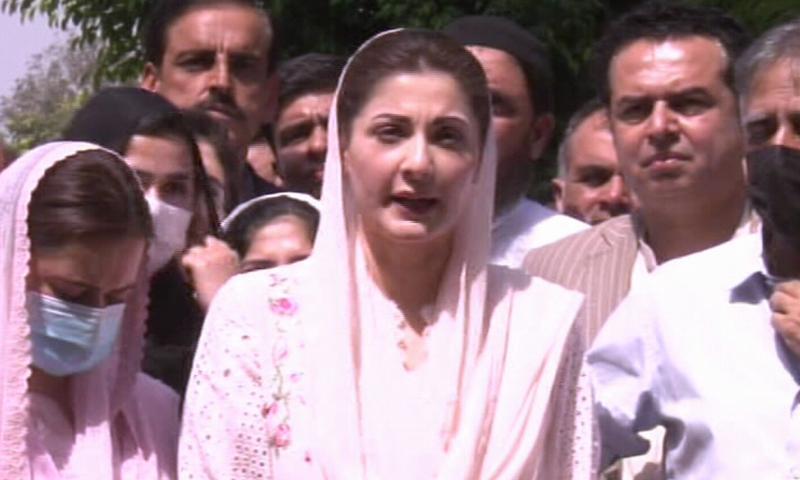 PML-N Vice President Maryam Nawaz speaks to the media outside the Islamabad High Court on Wednesday. — DawnNewsTV