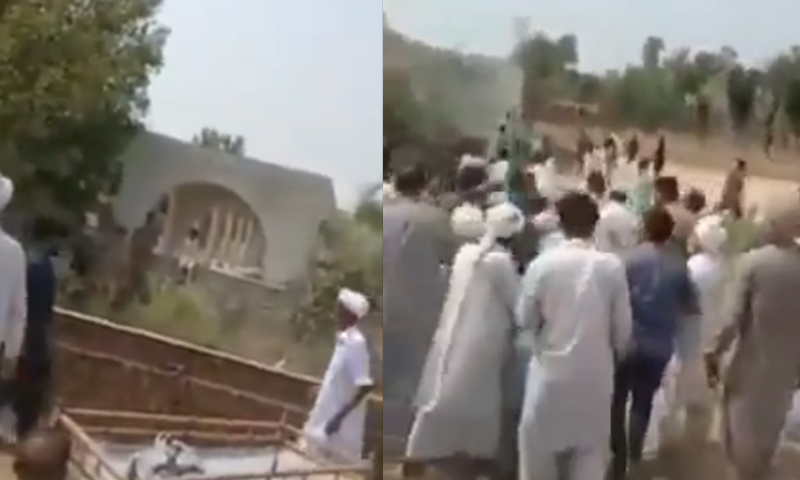 Videos shared on social media showed a crowd of locals gathered at the graveyard during the Ahmadi woman's funeral. — Twitter screengrab