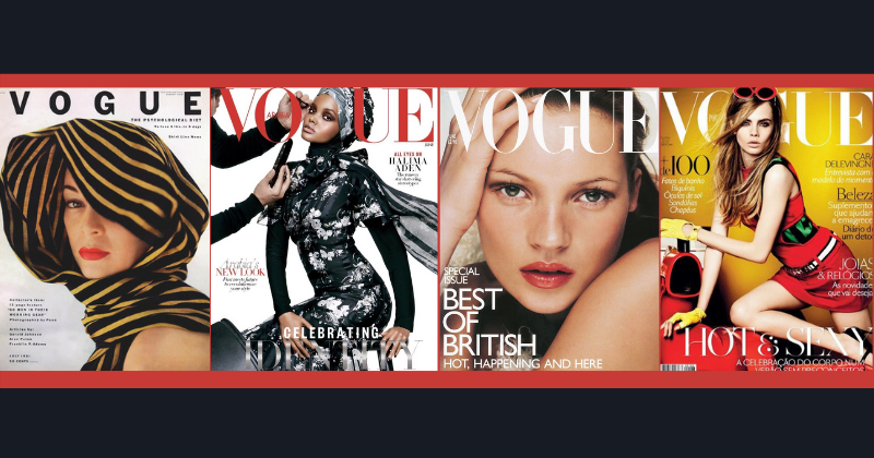 Jean Patchett cover, Halima Aden cover, Kate Moss cover and Cara Delevingne cover
