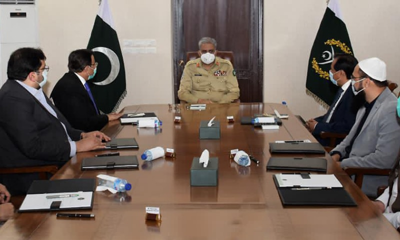 Army Chief Gen Qamar Javed Bajwa appreciated the role of business community in economic uplift of the country.  — ISPR photo