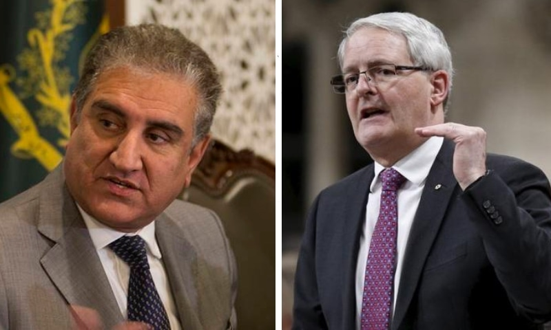 This combo photo shows Foreign Minister Shah Mahmood Qureshi and his Canadian counterpart, Marc Garneau. — Photos AP/Reuters