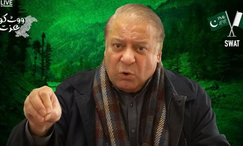 In this file photo, PML-N supremo Nawaz Sharif addresses supporters in Swat via video link. — DawnNewsTV/File