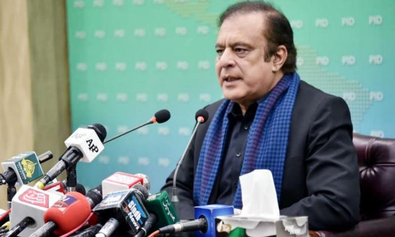 Information Minister Shibli Faraz addresses a press conference in Islamabad. — PID/File
