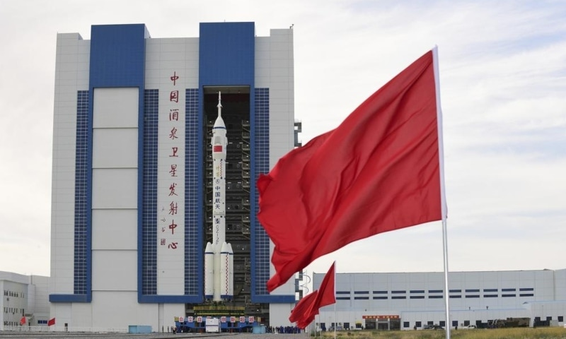 In this photo released by Xinhua News Agency, the Shenzhou-12 manned spaceship with its Long March-2F carrier rocket is being transferred to the launching area of Jiuquan Satellite Launch Centre in northwestern China's Gansu province, June 9. — AP