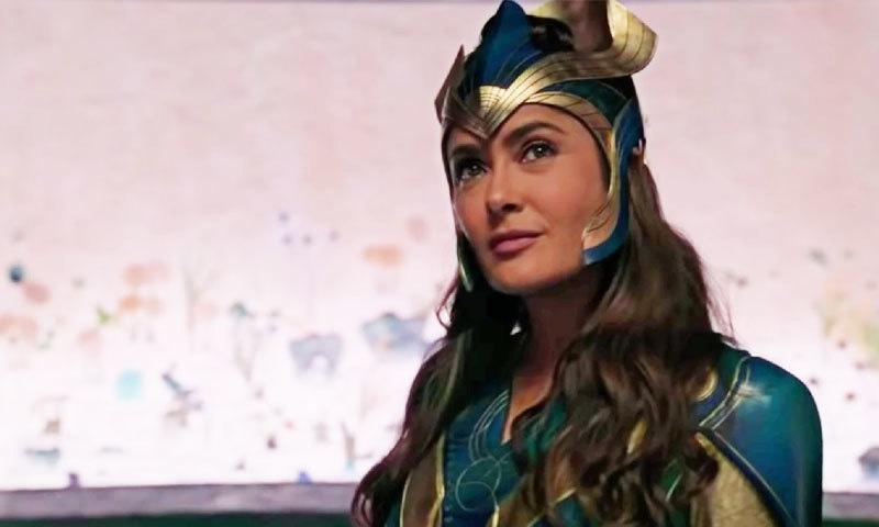 سلمیٰ ہائیک پہلی مرتبہ 54 سال کی عمر میں دی اٹرنلز میں سپر ہیروئن کے روپ میں دکھائی دیں گی—اسکرین شاٹ: مارول اسٹوڈیو