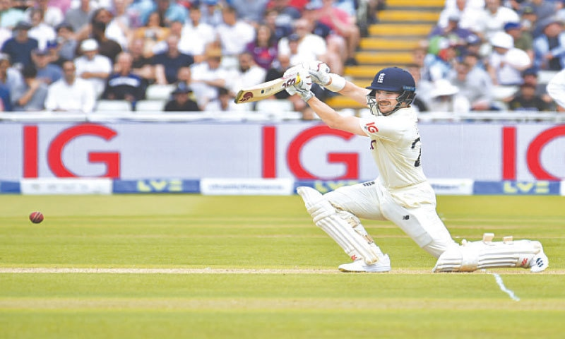 BIRMINGHAM: England opener Rory Burns drives during the second Test against New Zealand at Edgbaston on Thursday.—AP
