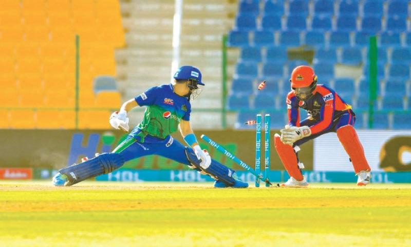 ABU DHABI: Karachi Kings wicket-keeper Chadwick Walton stumps Multan Sultans opener Rahmanullah Gurbaz during their HBL Pakistan Super League fixture at the Sheikh Zayed Stadium on Thursday.—Courtesy PCB