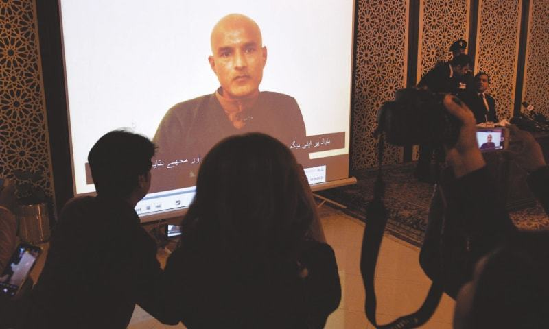 In this file photo,  Indian spy Kulbhushan Jadhav recorded message is played for mediapersons at the Foreign Office spokesperson's briefing. — Photos by Tanveer Shahzad / White Star