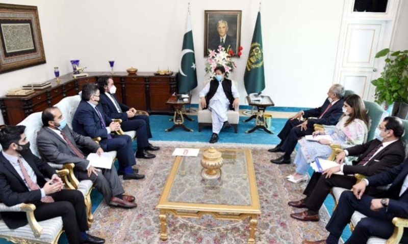 In a separate meeting with a delegation of Coca-Cola Icecek, the prime minister said that golden investment opportunities were waiting for foreign investors in Pakistan. — Photo courtesy Radio Pakistan