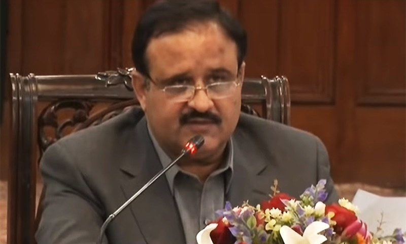 Chief Minister Usman Buzdar's helicopter made an emergency landing in Lahore due to strong wind on Thursday evening. — DawnNewsTV/File