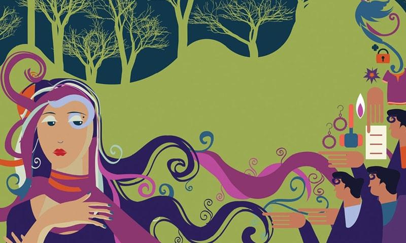 ہمارے دیس میں ہر سطح پر عورت کب بااختیار ہوگی؟— خاکہ بشکریہ زہرہ نواب