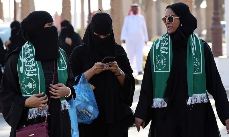 Saudi families arrive outside a stadium to attend an event in the capital Riyadh on September 23, 2017, commemorating the anniversary of the founding of the kingdom. — AFP/File