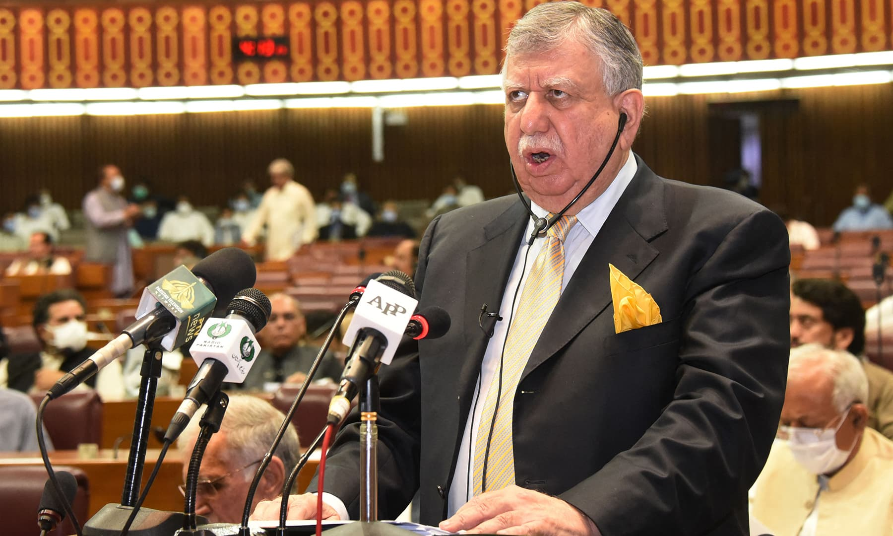 Finance Minister Shaukat Tarin presents the annual fiscal budget at the National Assembly in Islamabad. — Photo: National Assembly/AFP