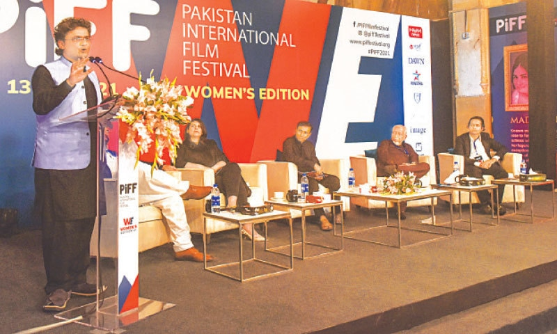 Senator Faisal Javed delivers the keynote speech at Frere Hall on Friday. —White Star