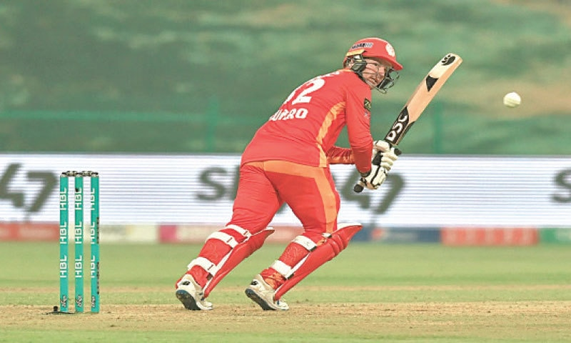 ABU DHABI: Islamabad United opener Colin Munro flicks the ball during his undefeated 36-ball innings of 90  against Quetta Gladiators during their HBL Pakistan Super League 6 encounter at the Sheikh Zayed Stadium on Friday night.—Courtesy PCB