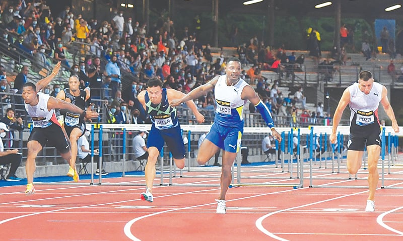 FLORENCE: Jamaica's Omar McLeod (second R) crosses the finish line to win the 110m hurdles, ahead of Britain's Andrew Pozzi (R) and France's Wilhem Belocian (L) during the Diamond League meeting at the Asics Firenze Marathon Luigi-Ridolfi Stadium.—AFP