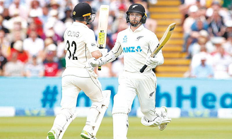 NEW ZEALAND batsmen Devon Conway (R) and Will Young run between the wickets during the second Test against England at Edgbaston.—Reuters