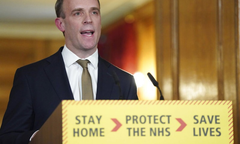 In this file photo, Britain's Foreign Secretary Dominic Raab answers questions from the media via a video link during a media briefing on coronavirus in Downing Street, London, on March 30. — AP/File