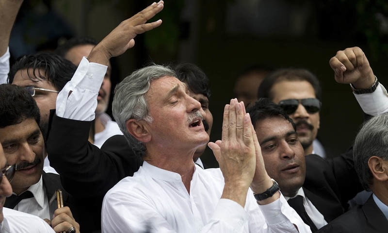 In this file photo, Jehangir Tareen celebrates the dismissal of Pakistani Prime Minister Nawaz Sharif outside the Supreme Court in Islamabad. — AP/File