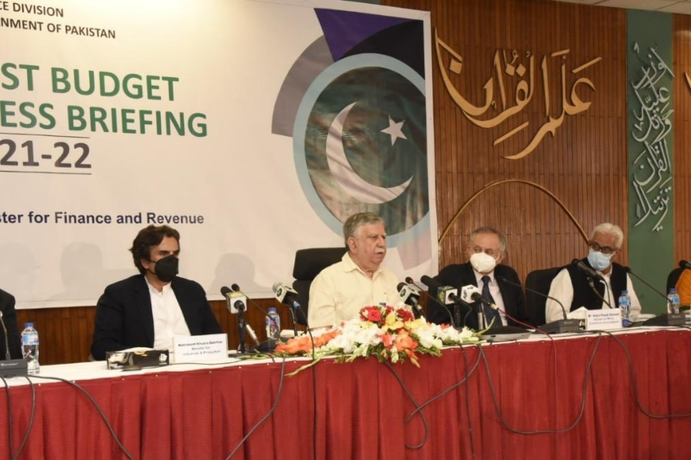 Finance Minister Shaukat Tarin addresses a post-budget press conference in Islamabad. — Photo courtesy: Finance ministry Twitter