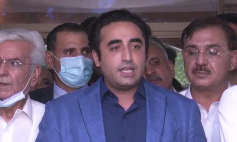 PPP Chairman Bilawal Bhutto-Zardari speaks to the media in Mardan. —   DawnNewsTV