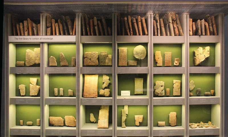 A display at the British Museum of clay tablets that formed part of seventh century Assyrian king Ashurbanipal's great library   Wikimedia Commons