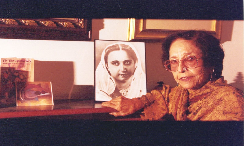 Malika Pukhraj with a photo of herself as a young woman | Photo courtesy Roshaneh Zafar