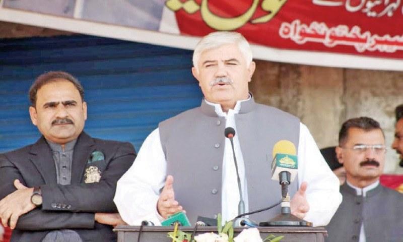Chief Minister Mahmood Khan addresses a public gathering in Matta, Swat. — Dawn/File