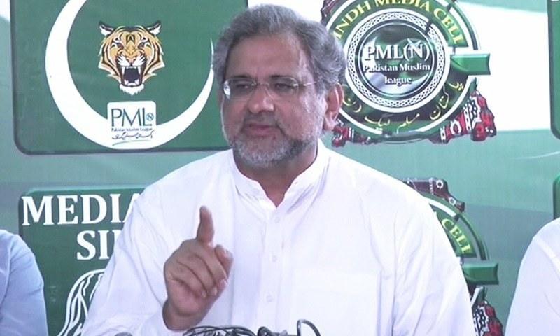 سابق وزیراعظم شاہد خاقان عباسی نے تحریک انصاف حکومت کے تیسرے بجٹ کو اے ٹی ایم بجٹ قرار دیا — فوٹو: ڈان نیوز